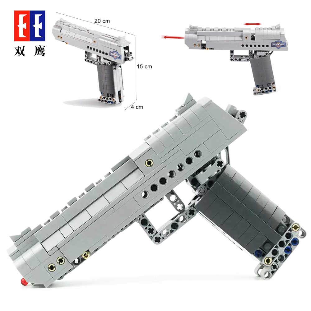 Fit Technic Series Gun Handgun Pistol Can Fire Bullets Set Desert Eagle & M23 DIY Model Building Blocks Toys For Kids Boys Gifts
