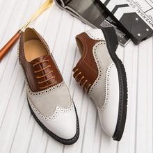 Классические Мужские модельные туфли в деловом стиле; модные элегантные официальные свадебные туфли; мужские офисные туфли-оксфорды без застежки; большой размер 46
