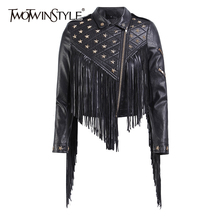 Clothing Jackets TWOTWINSTYLE Tassel Coats Rivet Long-Sleeve Female Women's Patchwork