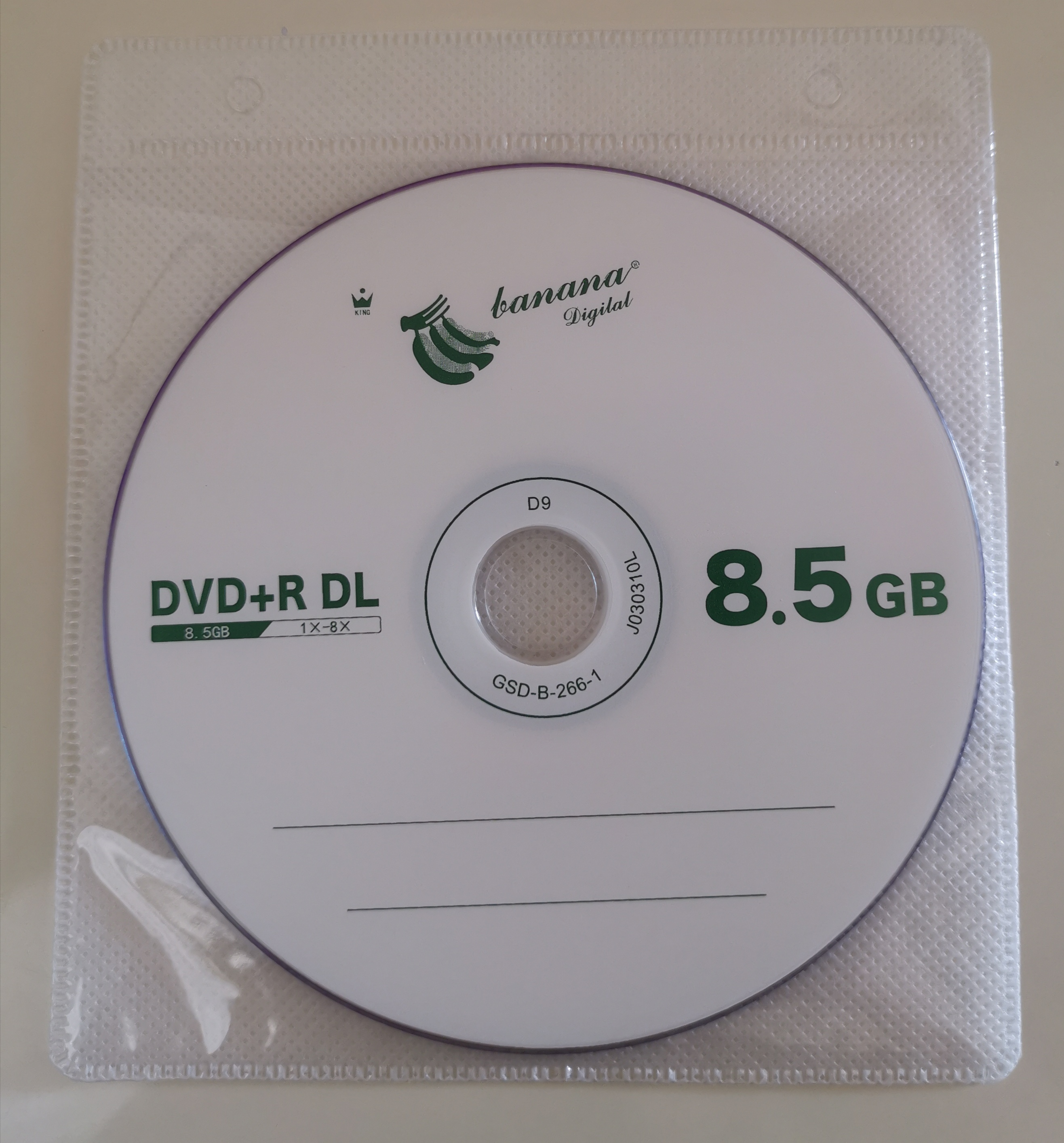 Wholesale DVD+R DL 8.5GB Dual Layer D9 8X 240min 10pcs/lot Free Shipping