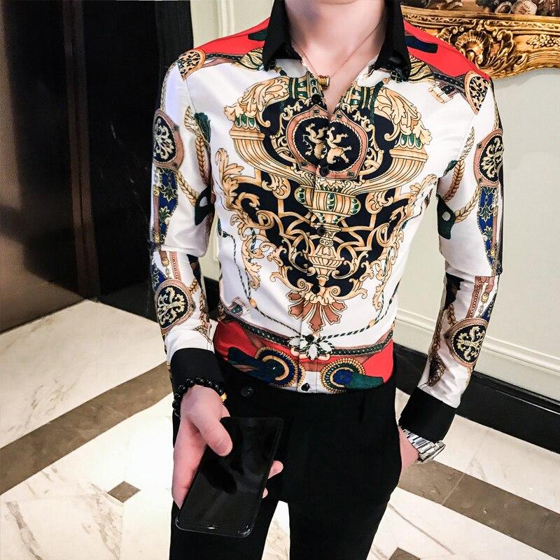 2019 Male business printing Shirts Baroque Slim Fit Party Club Shirt Men Camisa Homem luxury Long Sleeve Shirt Plus Size 4XL