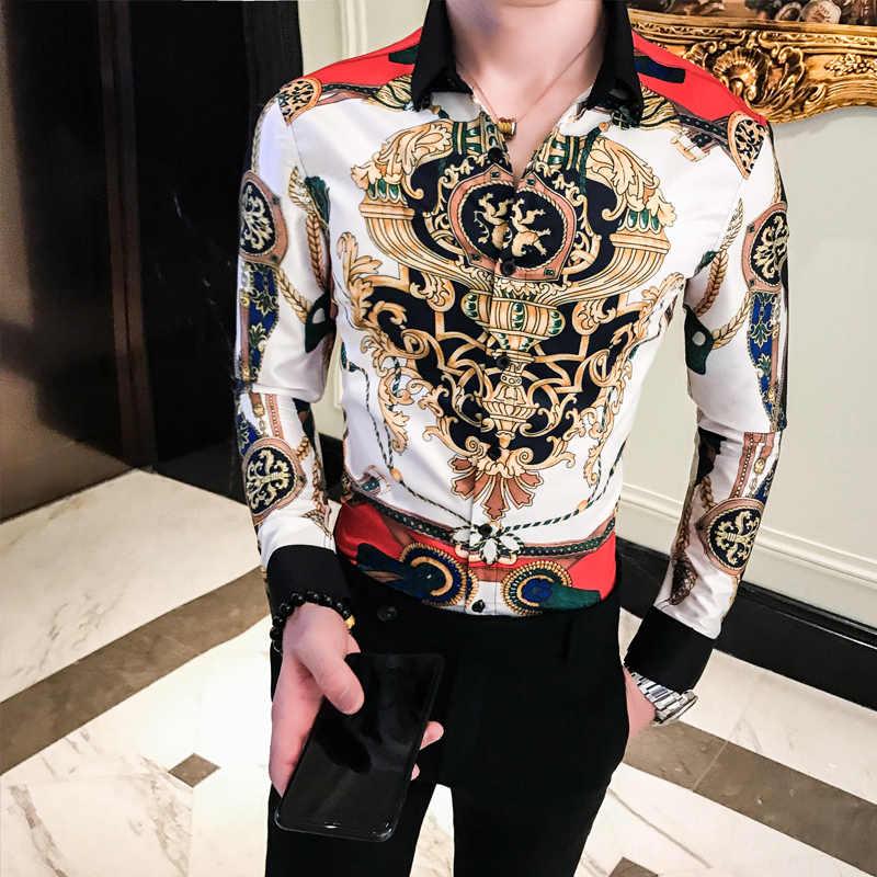 2019 männlichen geschäfts printing Shirts Barock Slim Fit Party Club Shirt Männer Camisa Homem luxus Lange Hülse Hemd Plus Größe 4XL