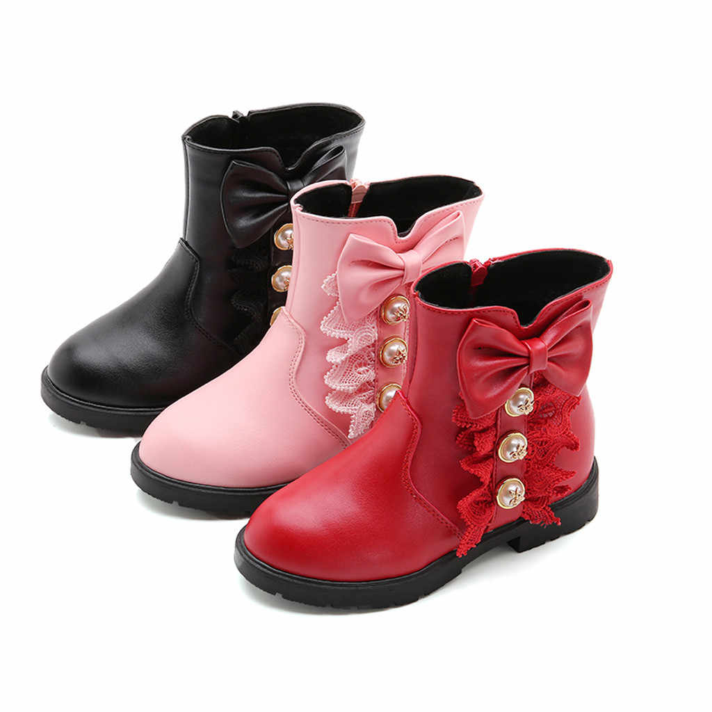 Children Girls Butterfly Knot Shoes PU Leather Waterproof Martin Boots Toddler Kids Warm Winter Kids Snow Boots Fashion Sneakers