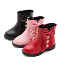Children Girls Butterfly Knot Shoes PU Leather Waterproof Martin Boots Toddler Kids Warm Winter Kids Snow Boots Fashion Sneakers(China)