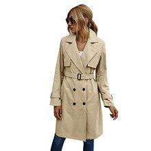 Trench manches longues pour femmes, vêtement d'extérieur, Double boutonnage, ceinture à revers, couleur unie, automne, printemps