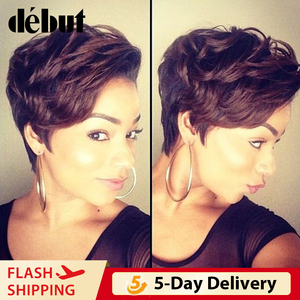 Debut Human Hair Wigs Ombre Brazilian Lace Front Short Bob Wigs Cheap Remy Short Pixie Cut Human Hair Wigs For Women Black Wigs