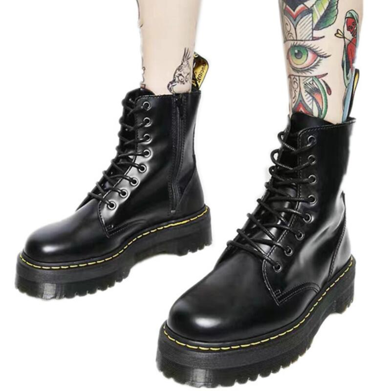 Black White Leather Dr Martens Woman Platform Boots Ankle Combat Boots For Women Winter Shoes Thick Sole Botas Feminina Zapatos