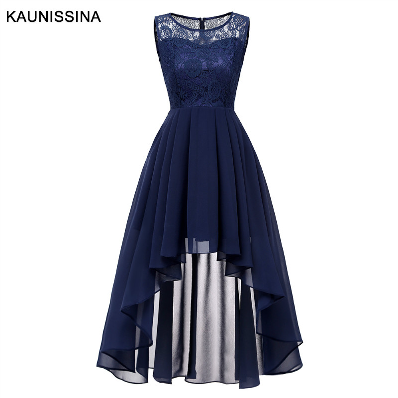 KAUNISSINA Women   Cocktail     Dresses   Asymmetrical Chiffon Lace Banquet Party Gown Solid Back Zipper Homecoming   Dresses