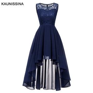 Image 1 - Kaunissina vestidos de cocktail feminino assimétrico chiffon renda banquete vestido de festa sólida volta zíper vestidos de baile