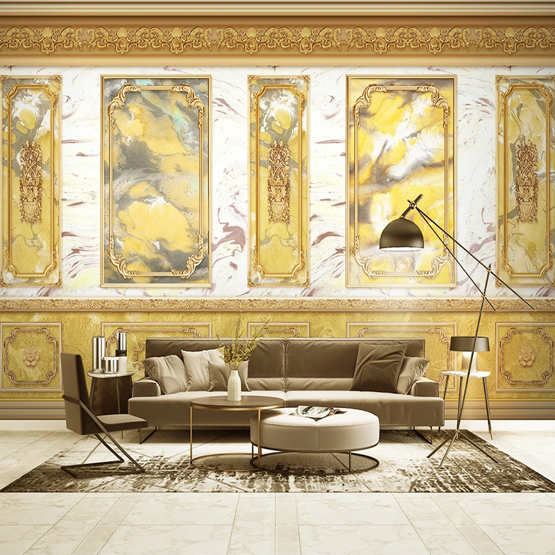 Drop Shipping Custom 3D Photo Wallpaper European Style Wall Panel Golden Abstract Art Mural Bedroom Decoration Wall Painting