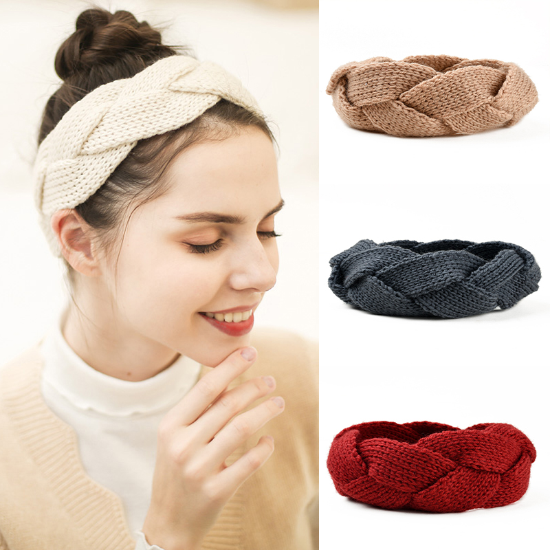 Kids Cute Headband Camellia Flower Crochet Knitting Wool Infant Winter Hair Warp