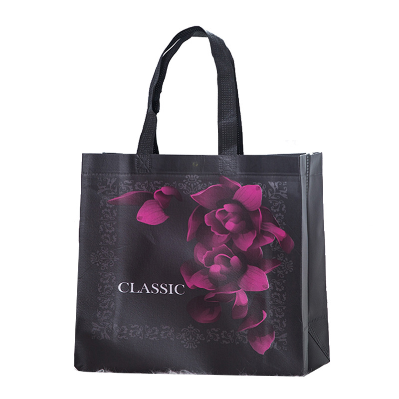 New Non-woven Fabric Rose Flower Shopping Bag Reusable Pouch Handbag Eco Friendly Bag Vintage Black Travel Storage Grocery Bag