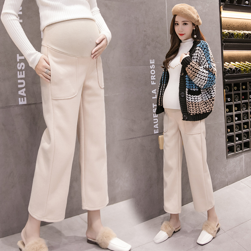 1670# 8/10 Wide Leg Straight Loose Woolen Maternity Pants Autumn Winter Fashion Belly Pants Clothes For Pregnant Women Pregnancy
