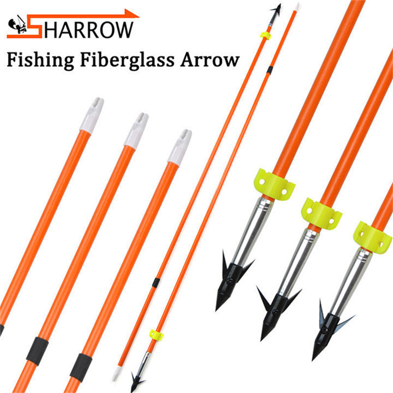 9/12pcs 32inch Fishing Arrow Fiberglass Safety Slider With Hunting Fish Arrowhead For Outdoor Shooting Accessories