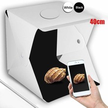 Black White Backgrouds Portable Photography Softbox Kit With LED Panels Highlight Video Box Folding Photo Studio