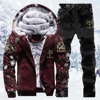 2020 Winter Thick Men Sports Suit Tracksuit Hooded Sportswear Zipper Cardigan Hooded+Elastic Pants Casual Men Fleece Warm Sets 1