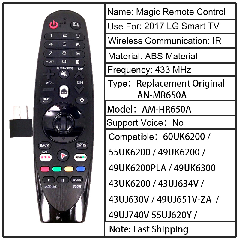 Image 2 - NEW AM HR650A AN MR650A Rplacement for LG Magic Remote Control for Select 2017 Smart television 55UK6200 49uh603v FernbedienungRemote Controls   -