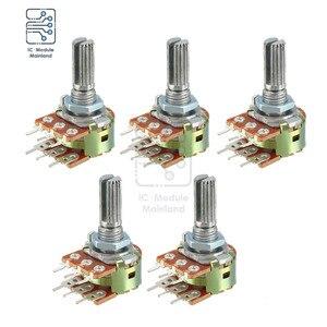 5PCS/Lot 1K 2K 10K 20K 100K 250K 1M Ohm Variable Resistors Dual Linear 6 Pin Rotary Carbon Film Taper Potentiometer 20mm Shaft