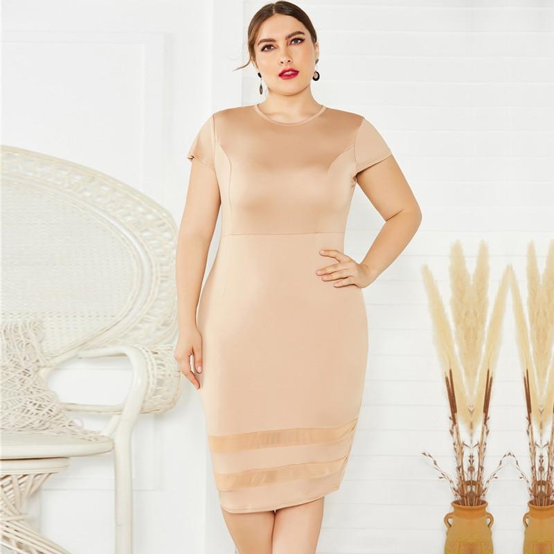 Laughido Plus Size O Neck Short Sleeve Bodycon Dress Women Skinny Patchwork Vestidos Summer Elegant Party Sundress Mesh Outfits