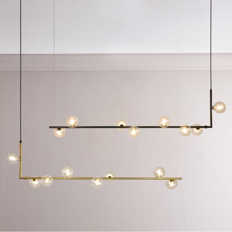 Modern Glass Ball Chandelier Lighting For Dinning Room Nordic Long Table Hanging Lamp Retro Loft Pendant Lamp For Bar,Shop