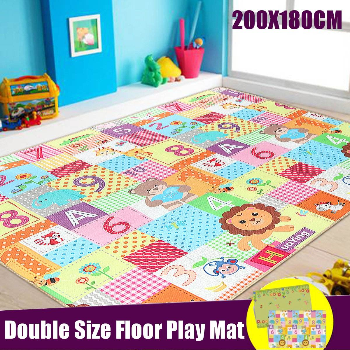LDPE Infant Baby Crawling Play Mat 200x180cm Thick Cartoon Game Rug Cover Puzzle Mat Folding Play Mats Waterproof Floor Carpet