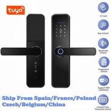 Cerradura inteligente con huella dactilar inteligente para el hogar, dispositivo de cierre de seguridad con WiFi, tarjeta RFID, con contraseña y aplicación Tuya
