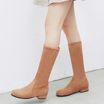Big Size 9 10 11-19 boots women woman winter boots women women shoes botas Splice sleeve low heel