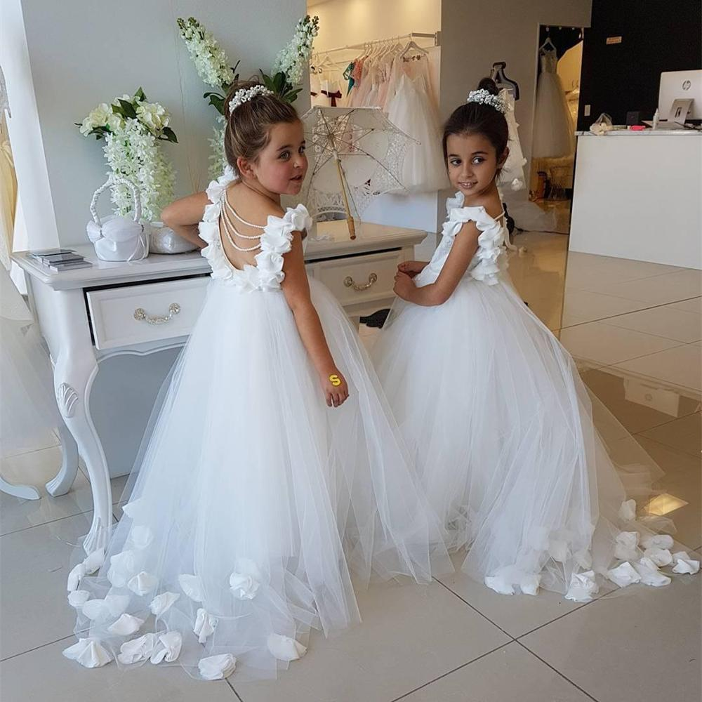 White Tulle Chiffon   Flower     Girls     Dress   Communion   Dresses   Pageant   Dresses   for   Girls