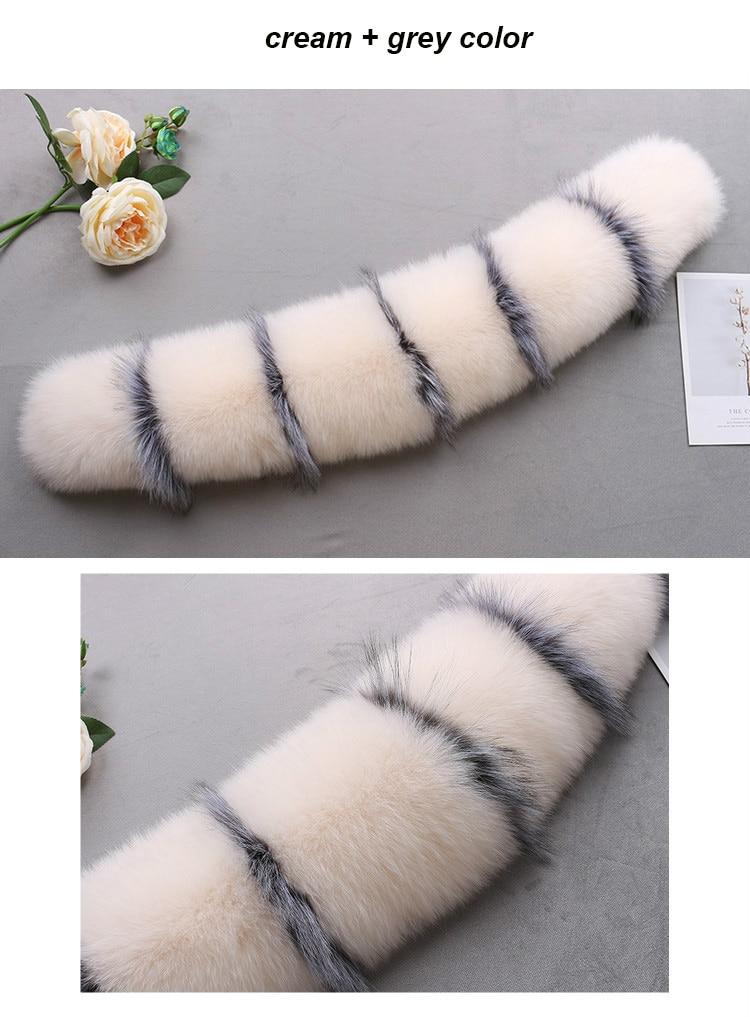 MS.Minshu Fox Fur Collar Parka Coat Collar Genuine Fox Fur Big Collar Fluffy Fox Fur Hood Collar - Цвет: 1