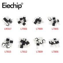 40 unids/set reguladores de tensión IC-220 L7805/7806/7809/7812/7815/7905/7909 LM317T Mosfet Kit de surtido de transistores