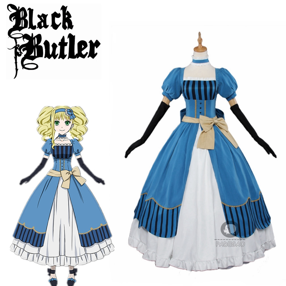 Black Butler Kuroshitsuji Elizabeth Midford(Lizzy)Party Luxury Dress Cosplay Costume Full Set Princess Clothing