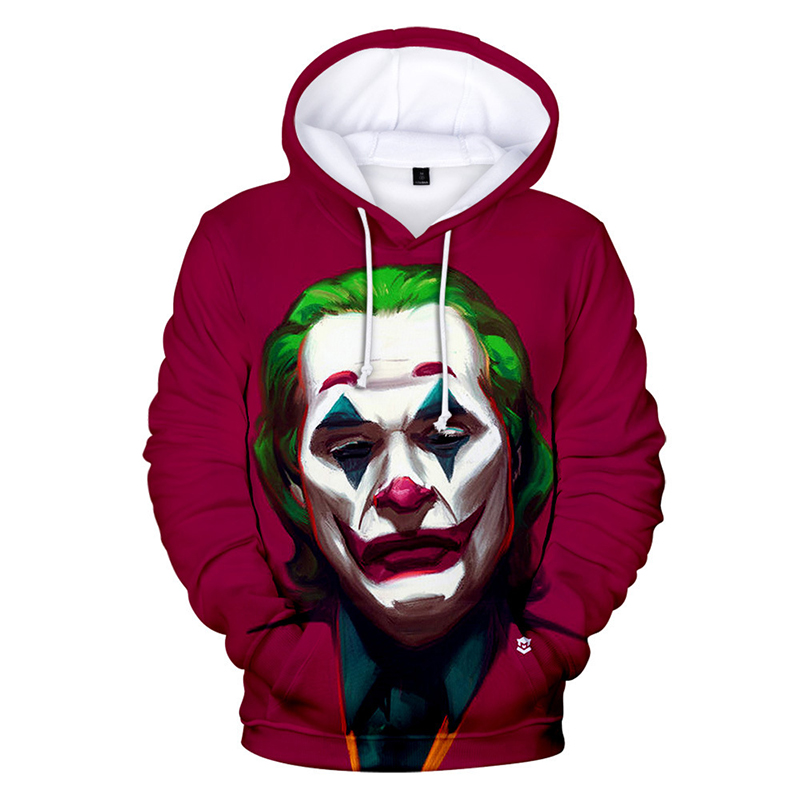 2019 Anime Red Music Clown Joker Hoodie Men Playing Cards Mask Hoodies Sweatshirts Plus Size 3D Tie Dyeing Sueter Masculino 4XL