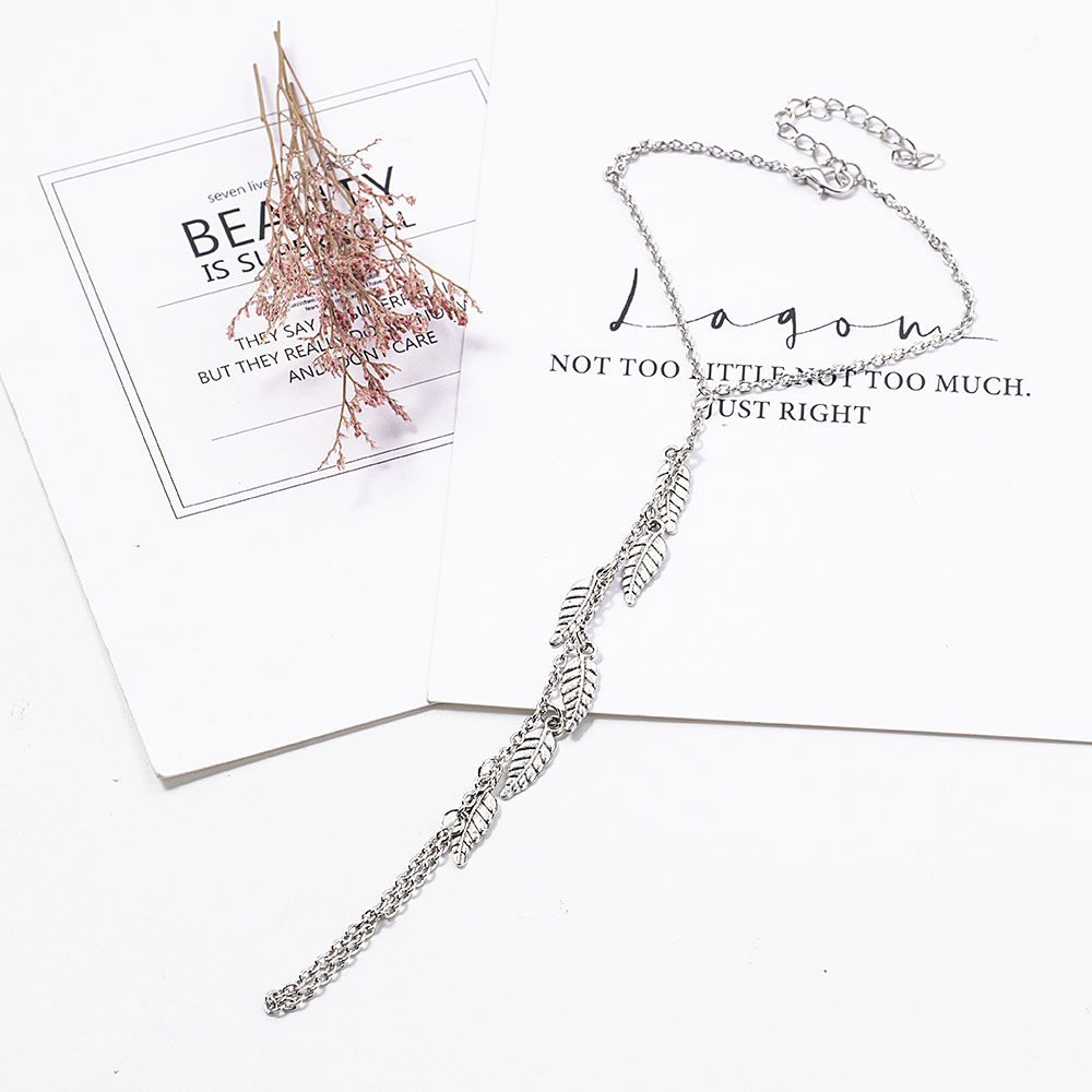 Silver Color Leaf Chain Anklet Bracelet Barefoot Sandal Beach Foot Jewelry Bohemian Gold Color Chain Ankle Bracelet on The Leg