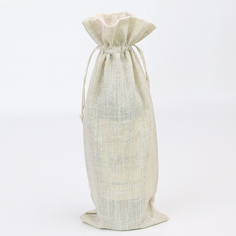15 * 36cm Gold Silk Linen Wine Bottle Bag High-grade Wine Bottle Linen Drawstring Packaging Gift Bag 50pcs