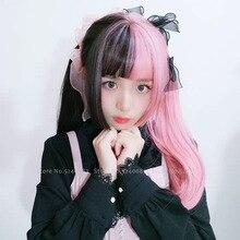 Ragazze Giapponesi Anime Bianco Nero Rosa Parrucca Cosplay Costumi Delle Donne Gothic Due Colore Dei Capelli Lunghi Del Partito Della Fase Puntelli Kawaii Copricapi