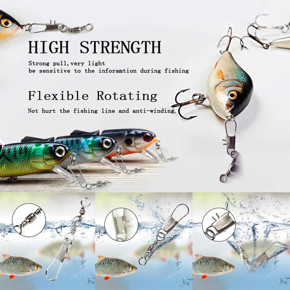 50/100 unids/caja gira de pesca de laminación de acero inoxidable giratoria Bal 4 #6 #8 #10 #12 #14 con interbloqueo Snap equipo de pesca de carpa gira