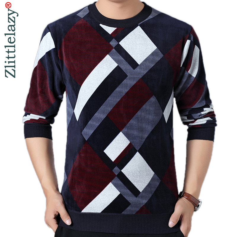 2019 Brand Thick Warm Winter Striped Knitted Pull Sweater Men Wear Jersey Mens Pullover Knit Mens Sweaters Male Fashions 93001