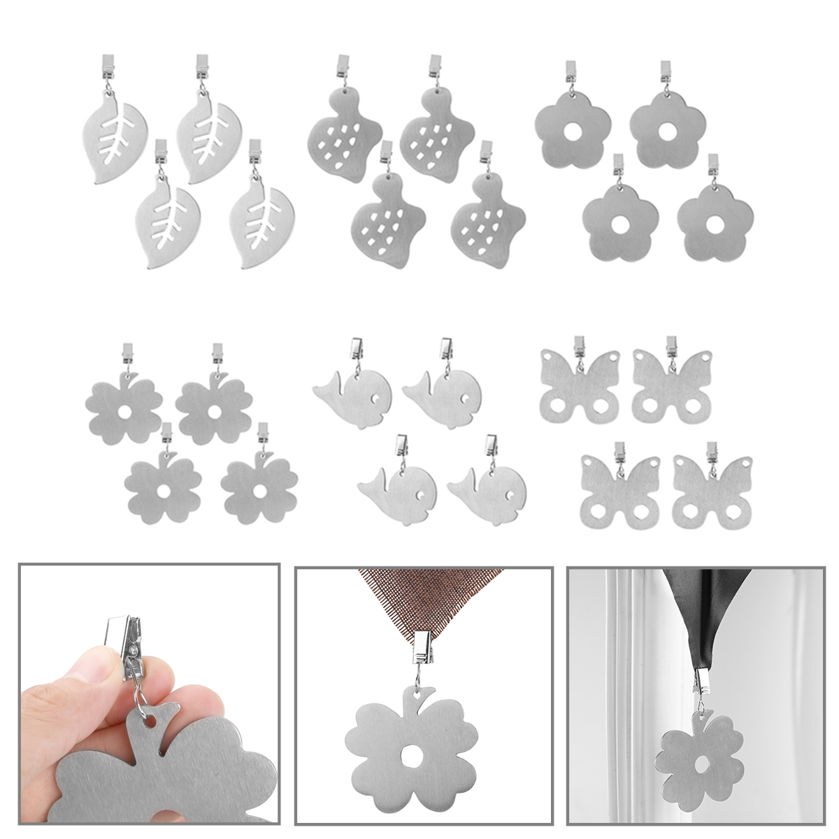 4pcs Heavy Duty Stainless Steel Pendant Tablecloth Weights with Metal Clips Clamps for Outdoor Garden Party Picnic Table Covers