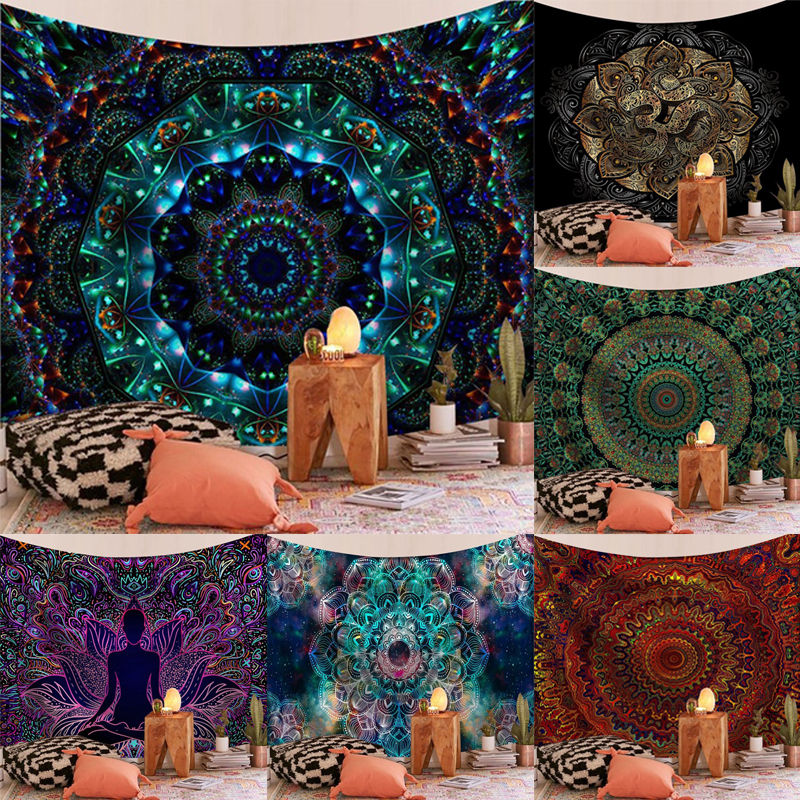 Psychedelic Tapestry Wall Hanging Mandala Sandy Beach Towel Throw Rug Bohemian Blanket Sleeping Pad Tapestries Home Decor