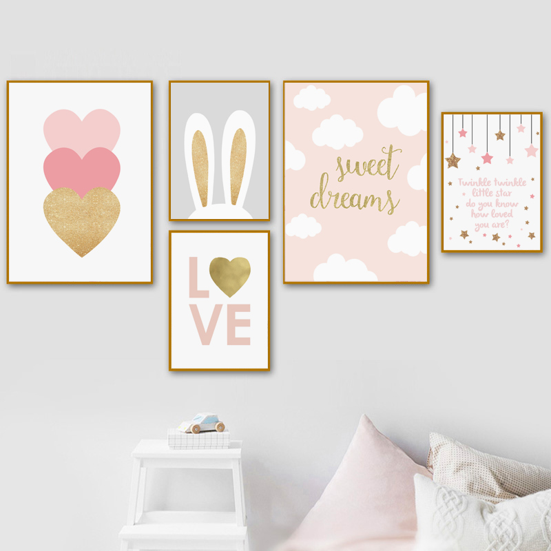 Baby Nursery Blush Pink Canvas Painting for Girl Bedroom Nordic Wall Art Poster Gold Heart Love Decoration Print Picture Decor