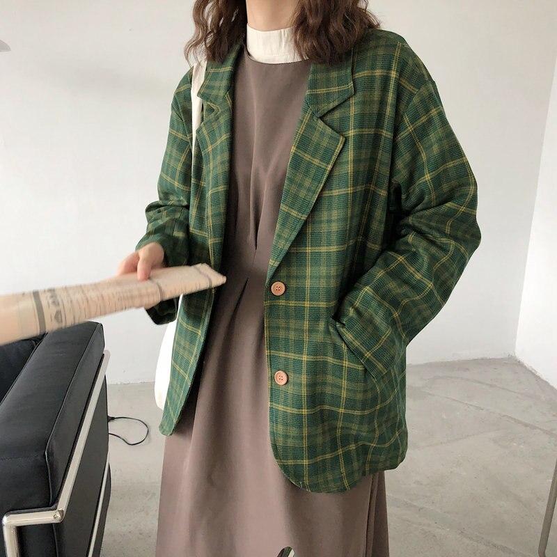 Alien Kitty Chic Brief All Match Green Plaid Vintage Streetwear Feminine Retro Loose Office Lady Casual Stylish Women Blazers