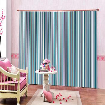 blue stripe curtains  Luxury Blackout 3D Window Curtains For Living Room Bedroom Customized size Decoration curtains