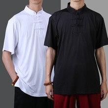 Летняя Китайская одежда для мужчин, топы с коротким рукавом, рубашка, шаолиньские боевые искусства, рубашка, гладкий молочный шелк, тонкая утренняя одежда для упражнений