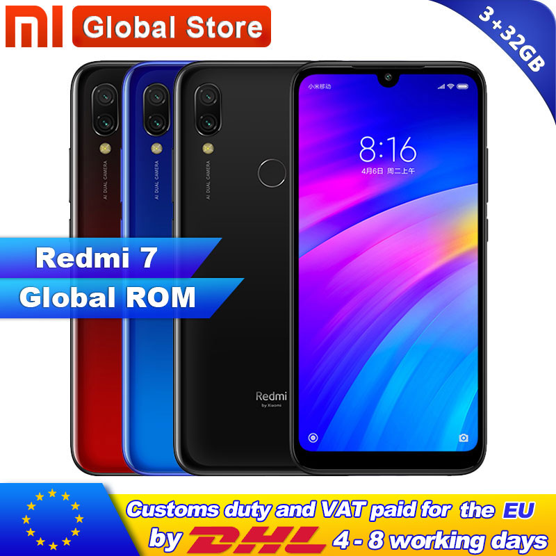 Global ROM Xiaomi Redmi 7 3GB 32GB 4000mAh Smartphone  Octa Core Snapdragon 632  12MP Camera 6.26 Inch 19:9 Full Screen