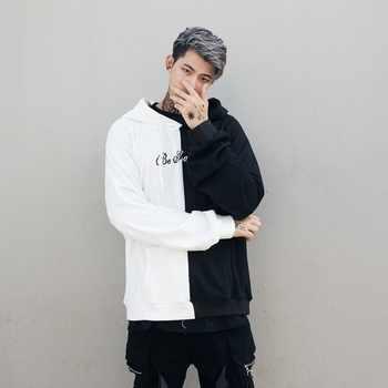 Hoodies Sweatshirts Men Color Block Black White Patchwork Smile Print Male Hoodie Hip Hop Streetwear Men Clothes 2018 Hoodie - DISCOUNT ITEM  36% OFF All Category