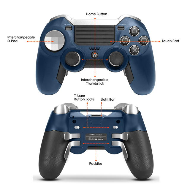 PS4 Gamepad,Dual Vibration Elite PS4 2.4G Wireless Game Controller Joystick for Play Station 4 Video Gaming Console and PS3 4