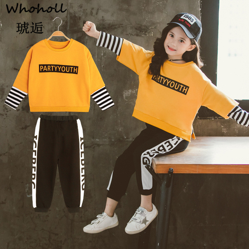 Whoholl Brand Baby Clothes Suits Causal Girls Clothing Sets Children 2 Pieces Sweatshirts Sports Pants Kids Set
