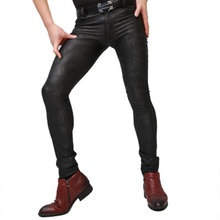 Legging Trousers Pencil-Pants Jogger Camouflage Tight Faux-Leather High-Elasticity Mens