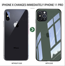 Gkk caso criativo para apple iphone 11 x xs max xr 7 8 plus caso anti-knock vidro temperado capa dura para iphone 11 x xs xr coque(China)
