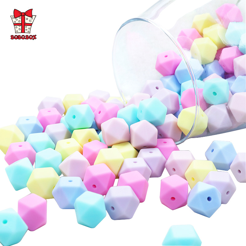 BOBO.BOX 10pcs 14mm Hexagon Silicone Beads Teething Baby Teether Toy Food Grade Baby Nursing Shower Gift Necklace Pacifier Chain